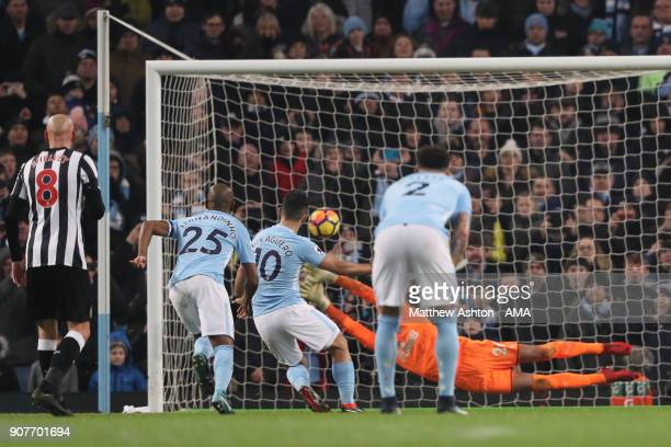 Sergio Aguero of Manchester City scores a goal from the penalty spot to make it 20 during the Premier League match between Manchester City and...