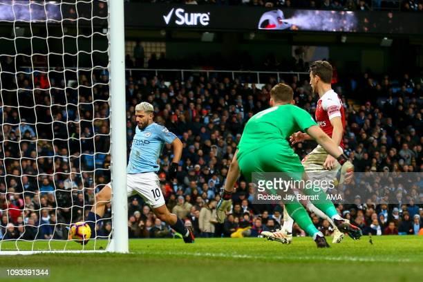 Sergio Aguero of Manchester City scores a goal to make it 21 during the Premier League match between Manchester City and Arsenal FC at Etihad Stadium...