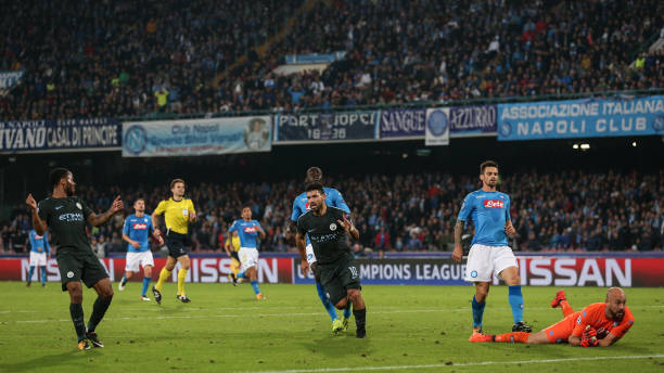 Sergio Aguero of Manchester City scores a goal to make it 2-3 during the UEFA Champions League group F match between SSC Napoli and Manchester City...