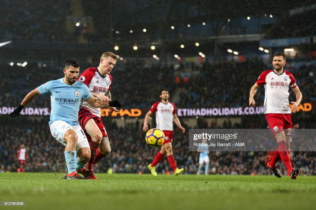 Sergio Aguero of Manchester City scores a goal to make it 3-0 during the Premier League match between Manchester City and West Bromwich Albion at Etihad Stadium on January 31, 2018 in Manchester, England.