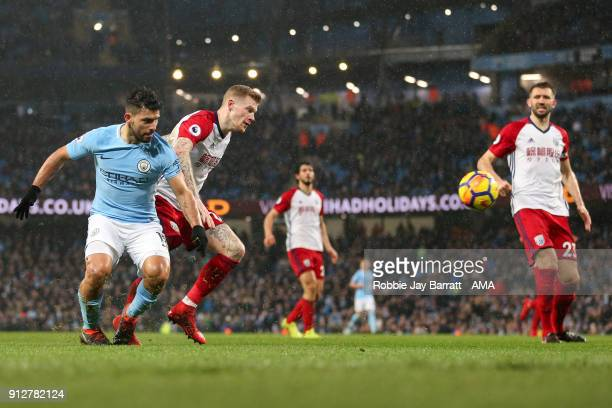 Sergio Aguero of Manchester City scores a goal to make it 30 during the Premier League match between Manchester City and West Bromwich Albion at...