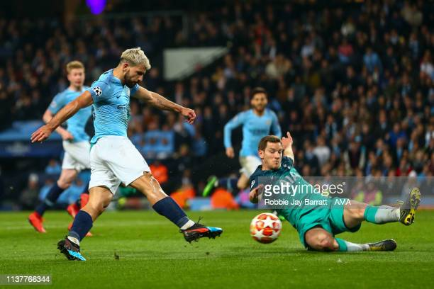 Sergio Aguero of Manchester City scores a goal to make it 4-2 during the UEFA Champions League Quarter Final second leg match between Manchester City...