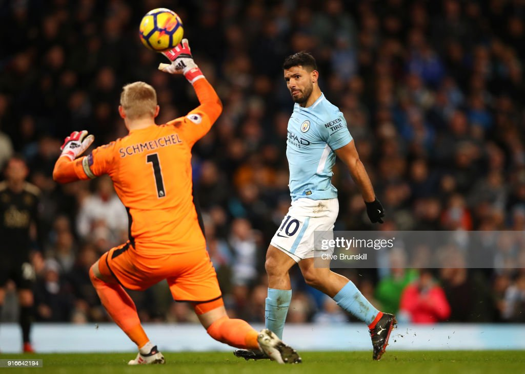 Sergio Aguero of Manchester City scores a hat-trick, his side's fourth goal during the Premier League match between Manchester City and Leicester City at Etihad Stadium on February 10, 2018 in Manchester, England.