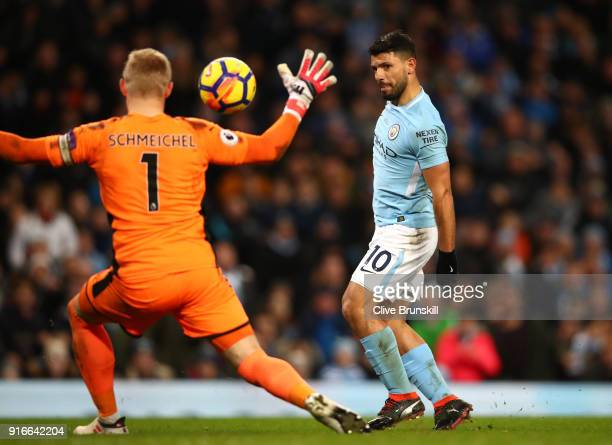 Sergio Aguero of Manchester City scores a hattrick his side's fourth goal during the Premier League match between Manchester City and Leicester City...
