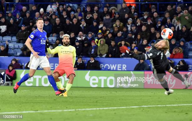 Sergio Aguero of Manchester City scores but his goal is disallowed for offside during the Premier League match between Leicester City and Manchester...