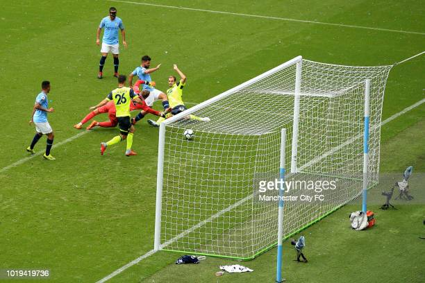 Sergio Aguero of Manchester City scores his 2nd goal during the Premier League match between Manchester City and Huddersfield Town at Etihad Stadium...
