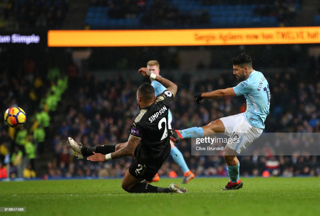 Sergio Aguero of Manchester City scores his sides fifth goal and his fourth during the Premier League match between Manchester City and Leicester City at Etihad Stadium on February 10, 2018 in Manchester, England.