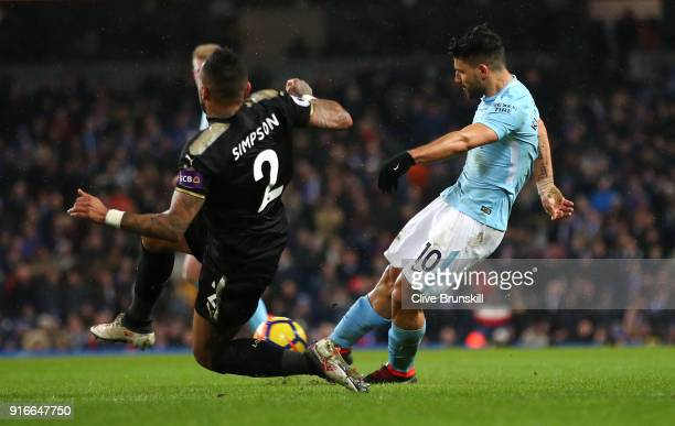 Sergio Aguero of Manchester City scores his sides fifth goal and his fourth during the Premier League match between Manchester City and Leicester...
