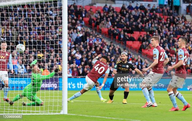 Sergio Aguero of Manchester City scores his sides first goal during the Carabao Cup Final between Aston Villa and Manchester City at Wembley Stadium...