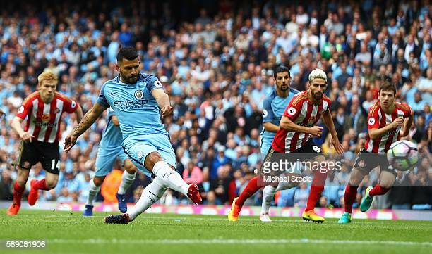 Sergio Aguero of Manchester City scores his sides first goal during the Premier League match between Manchester City and Sunderland at Etihad Stadium...