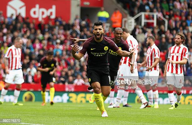 Sergio Aguero of Manchester City scores his sides first goal during the Premier League match between Stoke City and Manchester City at Bet365 Stadium...