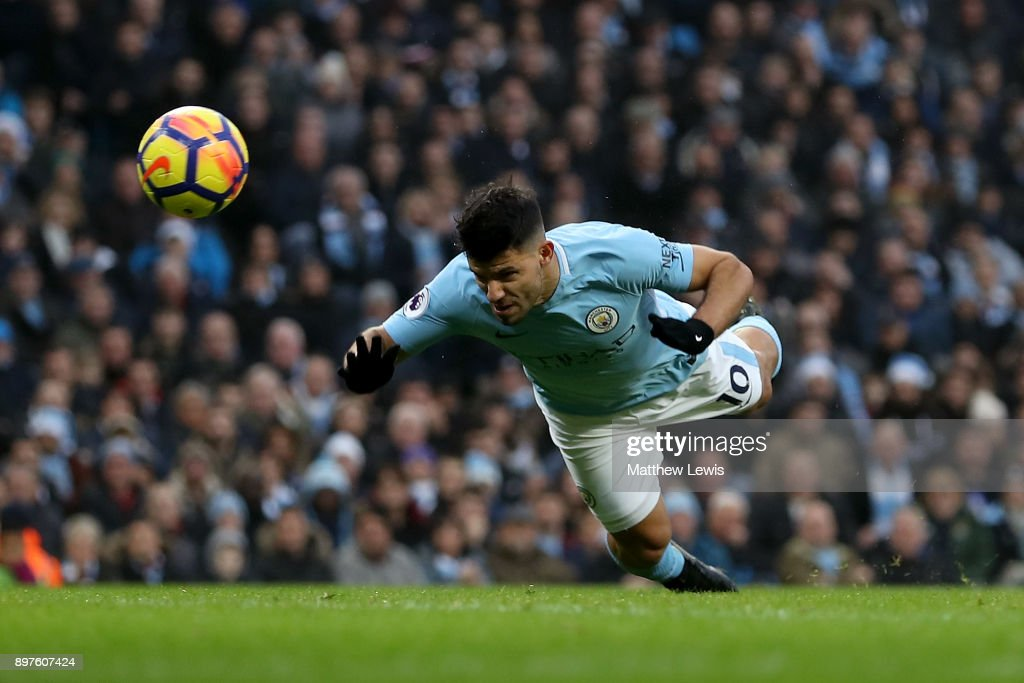 Sergio Aguero of Manchester City scores his sides first goal during the Premier League match between Manchester City and AFC Bournemouth at Etihad Stadium on December 23, 2017 in Manchester, England.