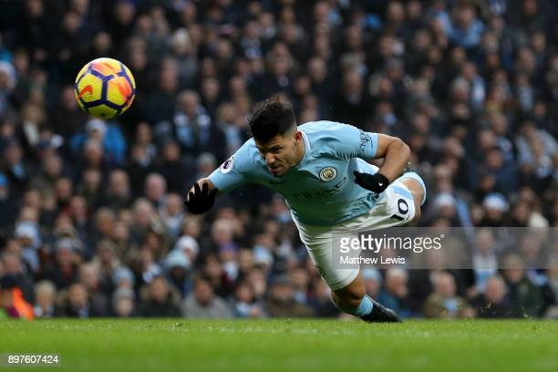 Sergio Aguero of Manchester City scores his sides first goal during the Premier League match between Manchester City and AFC Bournemouth at Etihad...