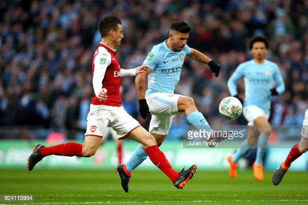 Sergio Aguero of Manchester City scores his sides first goal during the Carabao Cup Final between Arsenal and Manchester City at Wembley Stadium on...