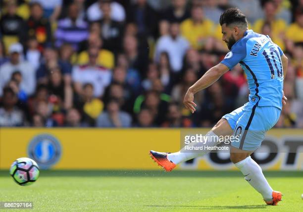 Sergio Aguero of Manchester City scores his sides second goal during the Premier League match between Watford and Manchester City at Vicarage Road on...