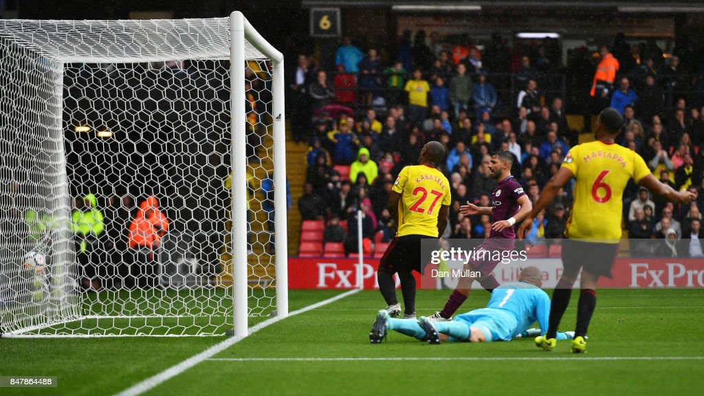 Sergio Aguero of Manchester City scores his sides second goal during the Premier League match between Watford and Manchester City at Vicarage Road on September 16, 2017 in Watford, England.