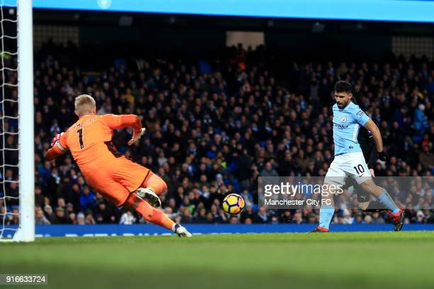 Sergio Aguero of Manchester City scores his sides second goal during the Premier League match between Manchester City and Leicester City at Etihad...