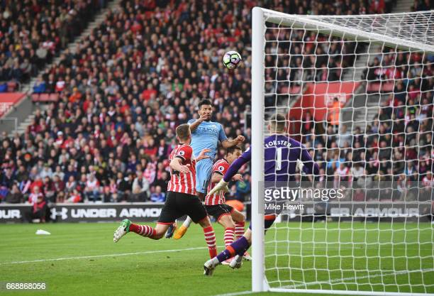 Sergio Aguero of Manchester City scores his sides third goal during the Premier League match between Southampton and Manchester City at St Mary's...