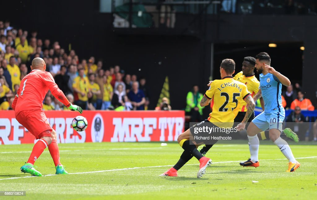 Sergio Aguero of Manchester City scores his sides third goal during the Premier League match between Watford and Manchester City at Vicarage Road on May 21, 2017 in Watford, England.