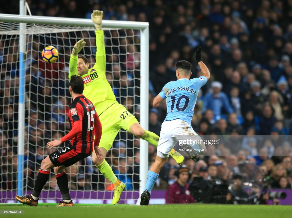 Sergio Aguero of Manchester City scores his sides third goal during the Premier League match between Manchester City and AFC Bournemouth at Etihad Stadium on December 23, 2017 in Manchester, England.