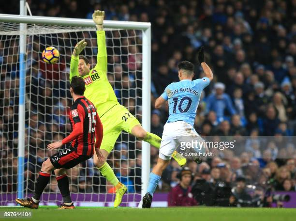 Sergio Aguero of Manchester City scores his sides third goal during the Premier League match between Manchester City and AFC Bournemouth at Etihad...