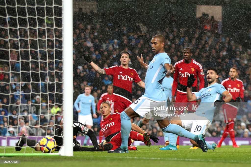 Sergio Aguero of Manchester City scores his sides third goal during the Premier League match between Manchester City and Watford at Etihad Stadium on January 2, 2018 in Manchester, England.