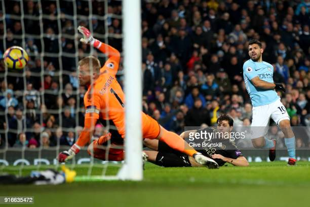 Sergio Aguero of Manchester City scores his sides third goal during the Premier League match between Manchester City and Leicester City at Etihad...