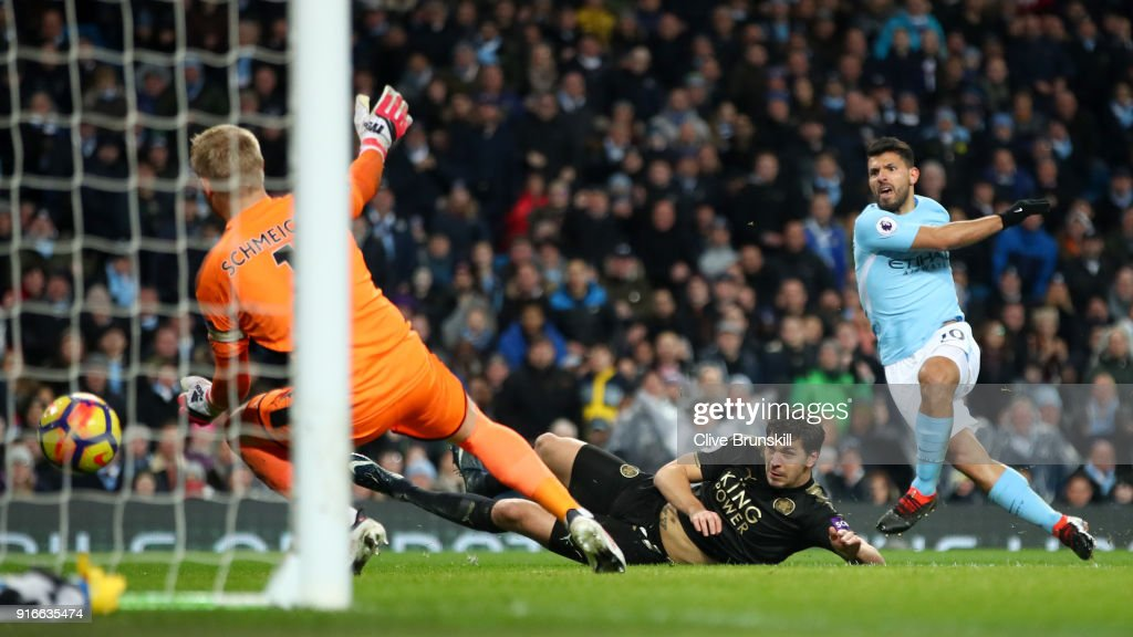 Sergio Aguero of Manchester City scores his sides third goal during the Premier League match between Manchester City and Leicester City at Etihad Stadium on February 10, 2018 in Manchester, England.
