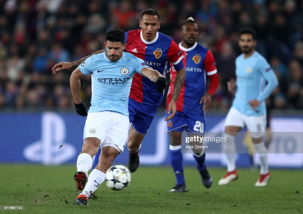 Sergio Aguero of Manchester City scores his sides third goal during the UEFA Champions League Round of 16 First Leg match between FC Basel and Manchester City at St. Jakob-Park on February 13, 2018 in Basel, Switzerland.