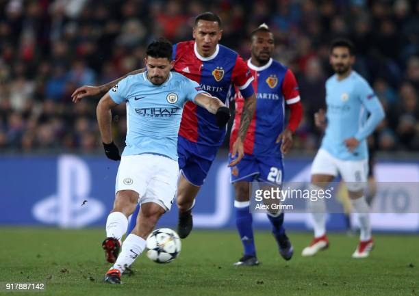 Sergio Aguero of Manchester City scores his sides third goal during the UEFA Champions League Round of 16 First Leg match between FC Basel and...