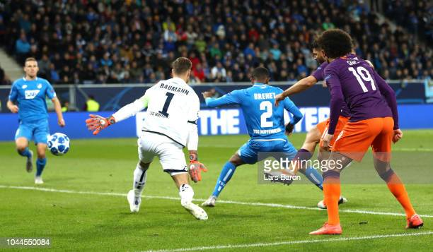 Sergio Aguero of Manchester City scores his team's first goal during the Group F match of the UEFA Champions League between TSG 1899 Hoffenheim and...