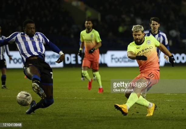Sergio Aguero of Manchester City scores his team's first goal during the FA Cup Fifth Round match between Sheffield Wednesday and Manchester City at...
