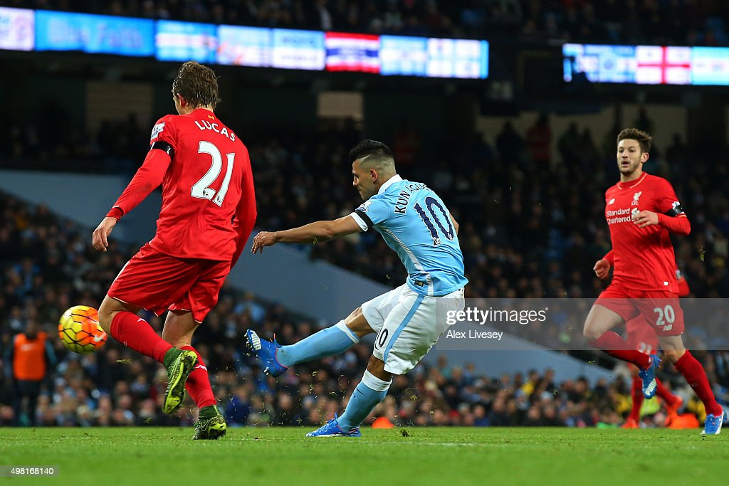Sergio Aguero of Manchester City scores his team's first goal during the Barclays Premier League match between Manchester City and Liverpool at Etihad Stadium on November 21, 2015 in Manchester, England.
