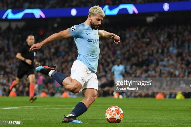 Sergio Aguero of Manchester City scores his team's fourth goal during the UEFA Champions League Quarter Final second leg match between Manchester...