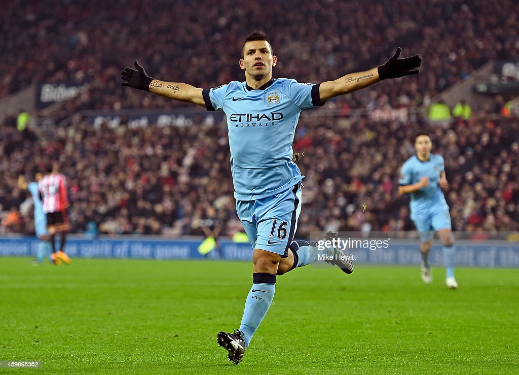 Sergio Aguero of Manchester City scores his team's fourth goal during the Barclays Premier League match between Sunderland and Manchester City at The Stadium of Light on December 3, 2014 in Sunderland, England.