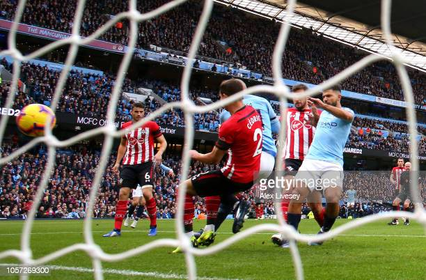 Sergio Aguero of Manchester City scores his team's second goal during the Premier League match between Manchester City and Southampton FC at Etihad...