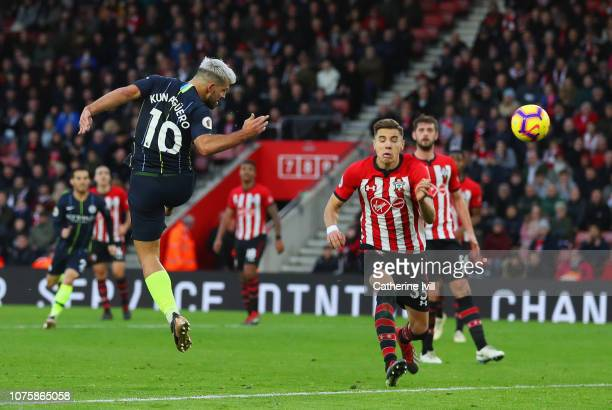 Sergio Aguero of Manchester City scores his team's third goal during the Premier League match between Southampton FC and Manchester City at St Mary's...