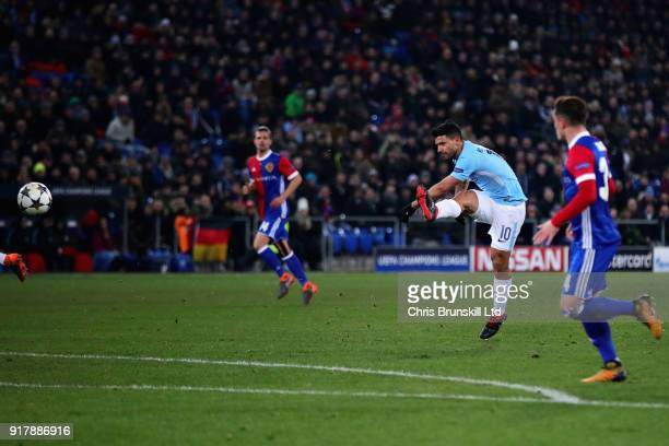 Sergio Aguero of Manchester City scores his teams third goal during the UEFA Champions League Round of 16 First Leg match between FC Basel and...