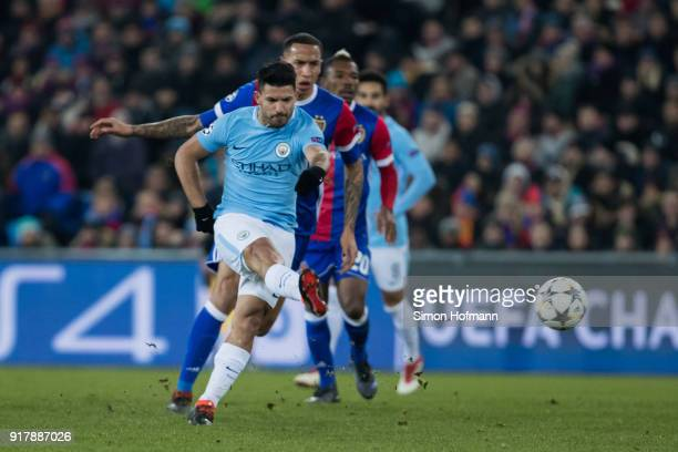 Sergio Aguero of Manchester City scores his team's third goal during the UEFA Champions League Round of 16 First Leg match between FC Basel and...