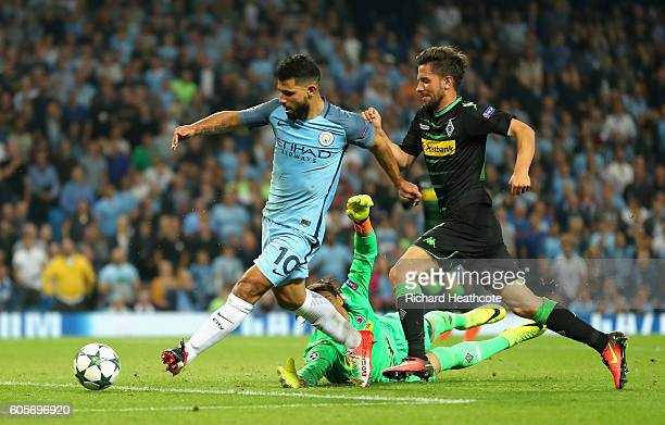Sergio Aguero of Manchester City scores his third during the UEFA Champions League match between Manchester City FC and VfL Borussia Moenchengladbach...