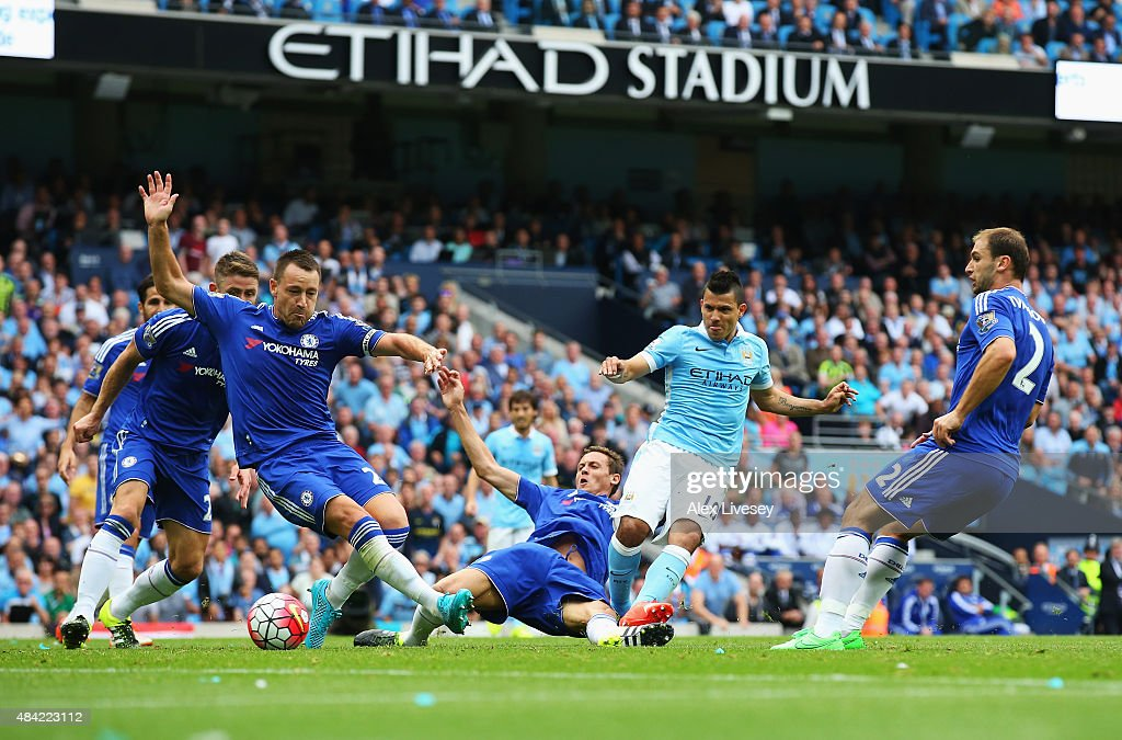 Sergio Aguero of Manchester City scores the opening goal during the Barclays Premier League match between Manchester City and Chelsea at the Etihad Stadium on August 16, 2015 in Manchester, England.
