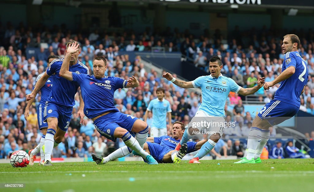 Sergio Aguero of Manchester City scores the opening goal during the Barclays Premier League match between Manchester City and Chelsea at Etihad Stadium on August 16, 2015 in Manchester, United Kingdom.
