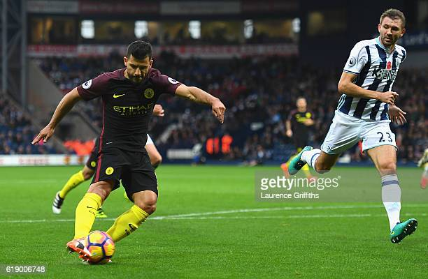 Sergio Aguero of Manchester City scores the opening goal during the Premier League match between West Bromwich Albion and Manchester City at The...