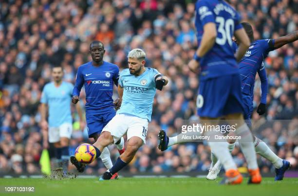 Sergio Aguero of Manchester City scores the second goal during the Premier League match between Manchester City and Chelsea FC at Etihad Stadium on...