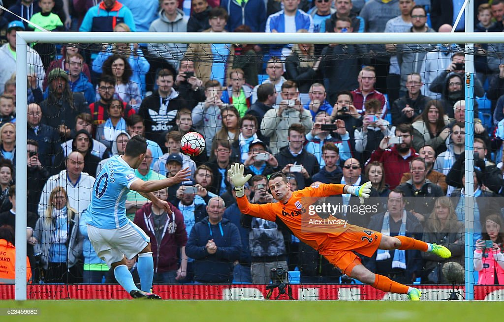 Sergio Aguero of Manchester City scores the second goal of the game during the Barclays Premier League match between Manchester City and Stoke City at Etihad Stadium on April 23, 2016 in Manchester, United Kingdom.