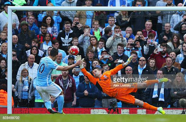 Sergio Aguero of Manchester City scores the second goal of the game during the Barclays Premier League match between Manchester City and Stoke City...