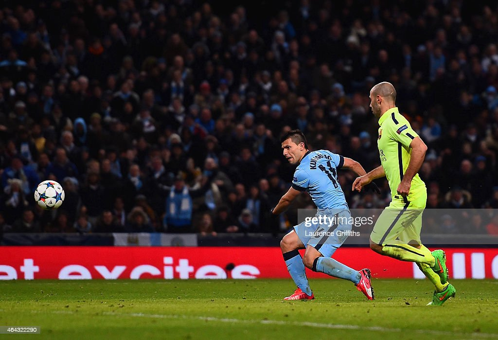 Sergio Aguero of Manchester City scores their first goal during the UEFA Champions League Round of 16 match between Manchester City and Barcelona at Etihad Stadium on February 24, 2015 in Manchester, United Kingdom.