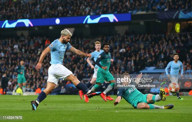 Sergio Aguero of Manchester City scores their fourth goal during the UEFA Champions League Quarter Final second leg match between Manchester City and...