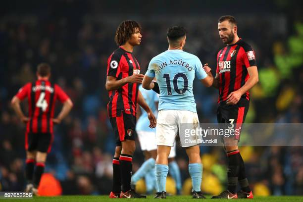 Sergio Aguero of Manchester City shakes hands with Steve Cook of AFC Bournemouth after the Premier League match between Manchester City and AFC...