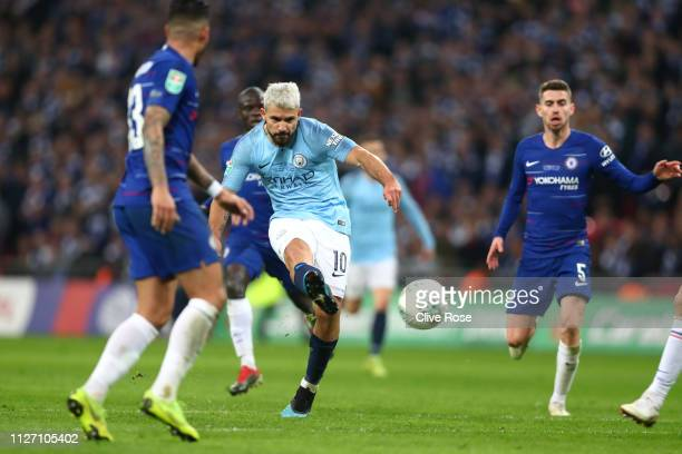 Sergio Aguero of Manchester City shoots during the Carabao Cup Final between Chelsea and Manchester City at Wembley Stadium on February 24 2019 in...
